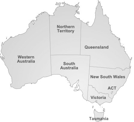 Australia Map - state locations of Prison Fellowship Australia